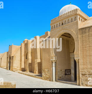 The outer wall of the Grand Mosque is the huge medieval rampart with gates in arabic style with beautiful domes, - Stock Photo