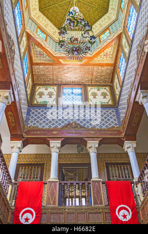 The interriors of the Governors mansion are the masterpieces of islamic art, Kairouan Tunisia - Stock Photo