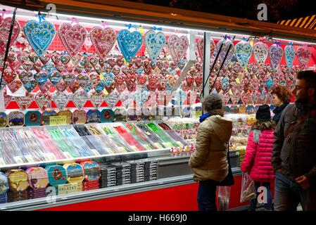 Confectionery stall in a street market in Levice Slovakia - Stock Photo