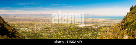 Panoramic view of False Bay from Table Mountain in Cape Town, South Africa - Stock Photo