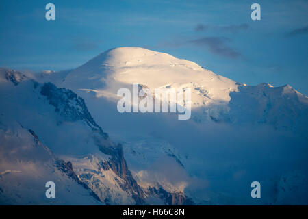 The summit of Mont Blanc (4809m), Chamonix Valley, French Alps, France. - Stock Photo
