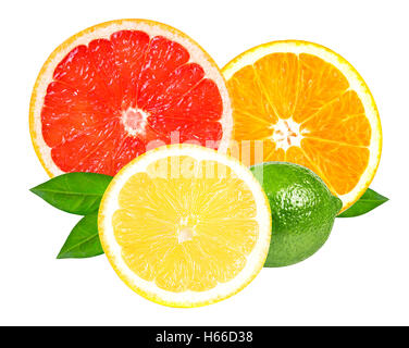 Citrus fruits (slices of lemon, orange, lime and grapefruit) isolated on white background, with clipping path - Stock Photo