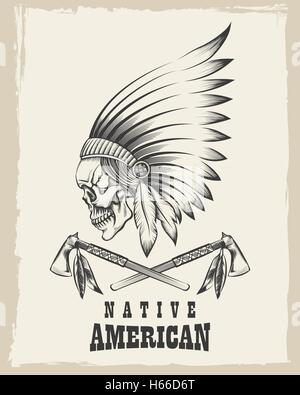 Indian skull in war bonnet and tomahawk. Vector illustration in engraving style. - Stock Photo