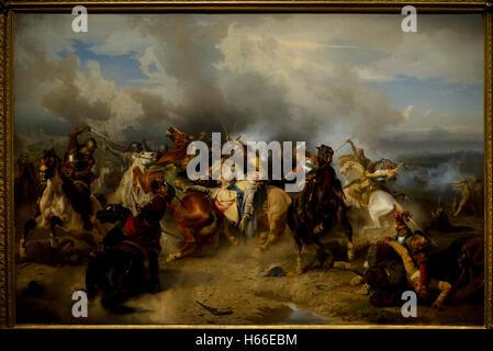 Carl Wahlbom (1810-1858). Swedish painter. Death of King Gustav II Adolf of Sweden at the Battle of Lutzen, 1855. - Stock Photo