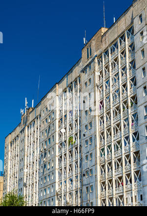 View of a Soviet-era apartment building in Bishkek - Kyrgyzstan - Stock Photo
