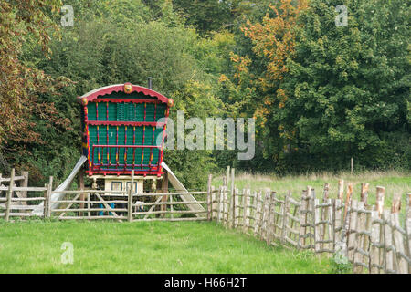Reading style Gypsy caravan at Weald and Downland open air museum, Singleton, Sussex, England - Stock Photo