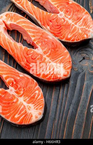 Fresh Raw Salmon Red Fish Steak - Stock Photo
