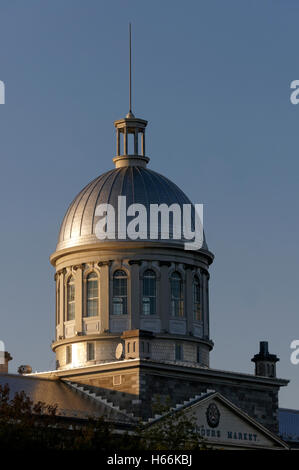 Dome of the Bonsecours Market building at sunset, Old Montreal, Quebec, Canada - Stock Photo