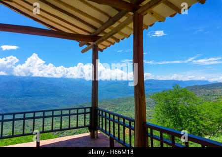 Covered viewpoint on the outskirts of Barichara, Colombia - Stock Photo