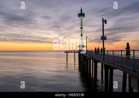 Sunset at Adelaide's Brighton beach, Adelaide Australia - Stock Photo