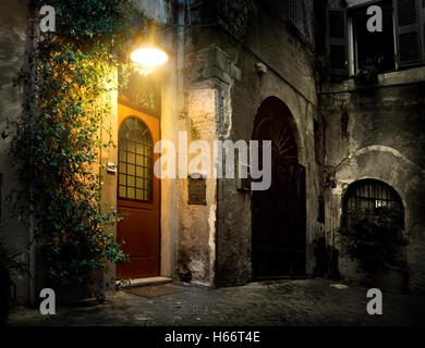 Old district Trastevere in Rome in the night, Italy - Stock Photo