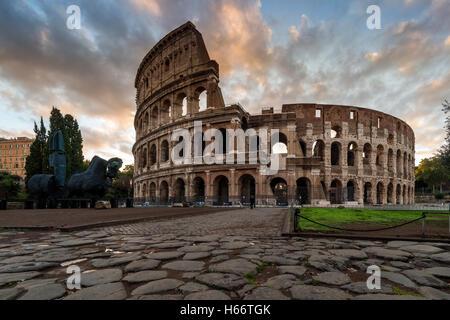 Sunrise view over Colosseum or Coliseum, Rome, Lazio, Italy - Stock Photo