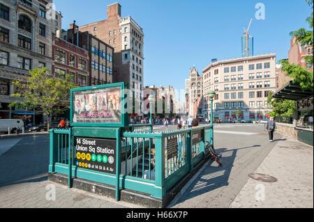 Subway Station Union Square Park, 14th Street, Subway, Manhattan, New York City - Stock Photo