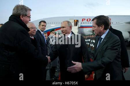 Russian President Vladimir Putin is welcomed by officials on arrival for the Normandy format meeting between the - Stock Photo