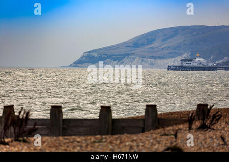 Eastbourne Pier East Sussex evening - Stock Photo