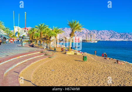 The North Beach of Eilat is one of the most popular beache of the resort, Eilat - Stock Photo