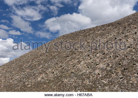 Detail of the Pyramid of the Sun, Teotihuacan archaeological site around thirty miles from Mexico City. - Stock Photo