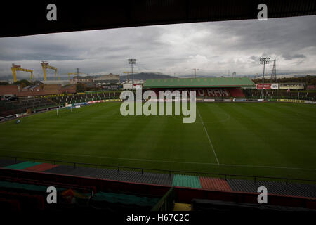 A view across the ground towards the away end at The Oval, Belfast, pictured before Glentoran hosted city-rivals - Stock Photo