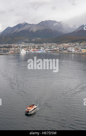 The tender boat of the Queen Mary 2 cruise ship sailing in Beagle Channel on Tierra del Fuego island in Ushuaia, - Stock Photo