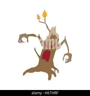 Halloween scary tree icon, cartoon style - Stock Photo