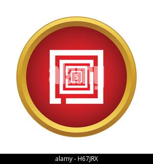 Labyrinth icon in simple style - Stock Photo