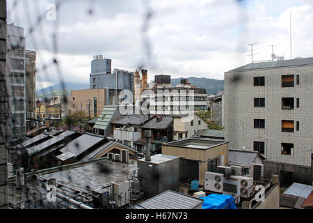 View of Kyoto city in cloudy day, Japan - Stock Photo