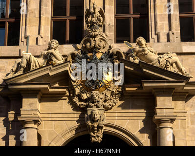 Ornate pediment over doorway of the town hall, Nuremberg. - Stock Photo