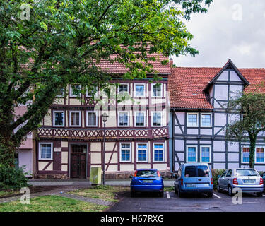 Hann. Münden, Lower Saxony, Germany. Historic typical half-timbered houses in medieval old German town - Stock Photo