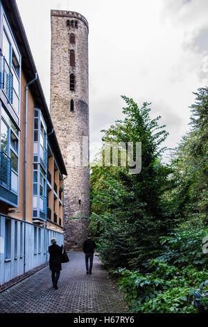 Hann. Münden, Lower Saxony, Germany. Fortification stone wall tower in historic medieval old town - Stock Photo
