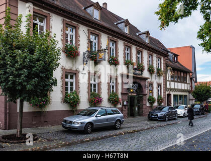 Drei Hasen, Three Hares Hotel. Historic building on picturesque cobbled street in old town. Michelstadt, Southern - Stock Photo