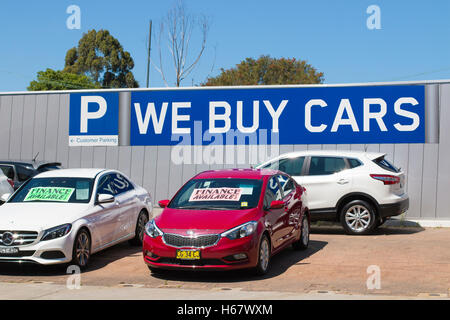 Used cars for sale at a car dealership in North Sydney,Australia - Stock Photo