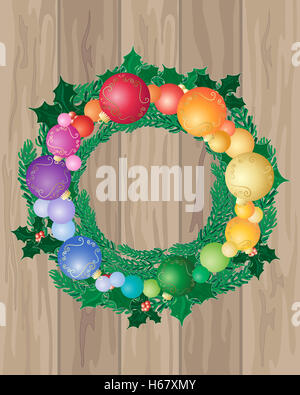 an illustration of wooden floor boards with a festive Christmas wreath decorated with colorful baubles and holly - Stock Photo