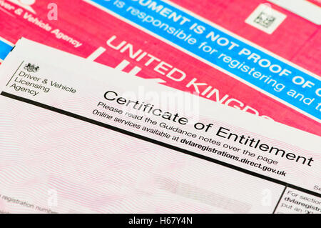 Certificate of Entitlement for personalised number plates from DVLA with V5C registration certificate. - Stock Photo