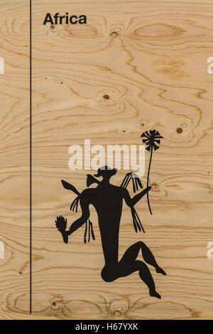 Graphic Silhouette Illustrationon Wooden Background: Man's Body and flowers - Stock Photo