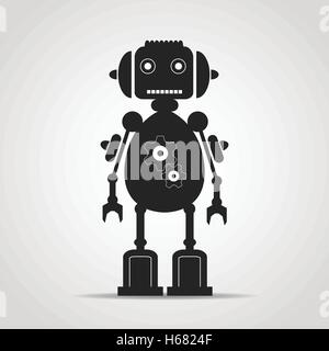 Black emblem of frendly retro robot with gears - Stock Photo