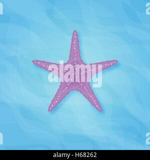Illustration of starfish on blue sea background - Stock Photo