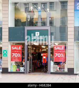 Frontage of the Mountain Warehouse store. On Listergate, Nottingham, England. - Stock Photo