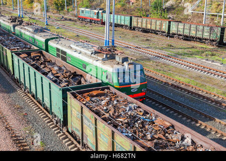The railway freight wagons. Trains of the Russian Railways company (RZhD) - Stock Photo