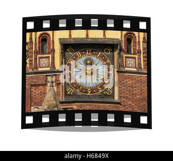 Astronomical clock on the Eastern facade of the Town Hall from the year 1580, Wroclaw, Lower Silesia, Poland, Europe - Stock Photo