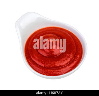 Bowl of ketchup isolated on white background. - Stock Photo