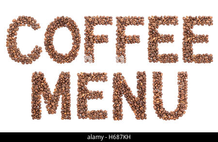The word coffee menu made of beans. - Stock Photo