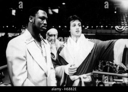 JOE FRAZIER, BURGESS MEREDITH, SYLVESTER STALLONE, ROCKY, 1976 - Stock Photo