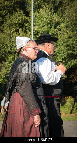 Brem sur Mer, France - July 09, 2016 : elderly couple for a show of traditional dance troupe Vendee region of France, - Stock Photo