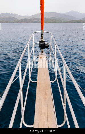 Steel cage around the prow board of a sailing ship. - Stock Photo