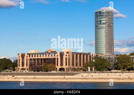 Germany, Cologne, Hotel Hyatt  Regency and the Cologne Triangle skyscraper in the district Deutz. - Stock Photo