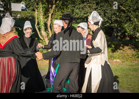 Brem sur Mer, France - July 09, 2016 : old women dance round in a show of traditional dance troupe Vendee region - Stock Photo