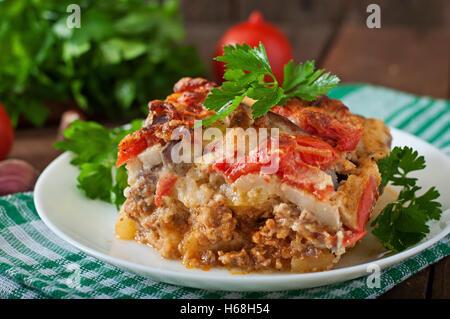 Moussaka - a traditional Greek dish - Stock Photo