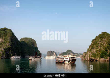 Tour boats in Ha Long Bay, Vietnam - Stock Photo