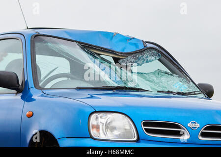 The scene after a fatal road traffic accident involving a car and bicycle on the B480 near Garsington - Stock Photo