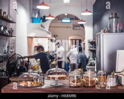 Colombo, Sri Lanka. June 10th 2016. The inside of Kumbuk Cafe in Colombo, Sri Lanka. - Stock Photo